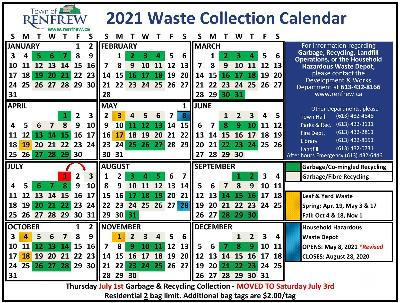 2021 Waste Collection Calendar, Revised April 8, 2021 due to household hazardous waste opening date