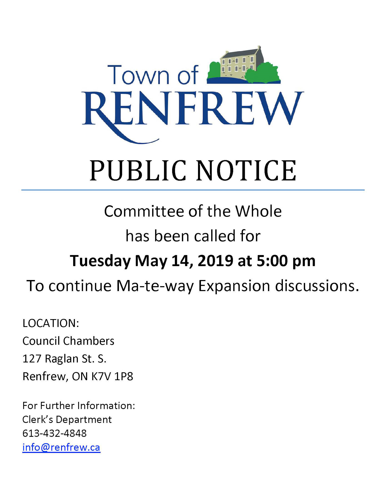 Ma-te-way Expansion Discussions -  Committee of the Whole Meeting May 14, 2019 5:00 p.m.